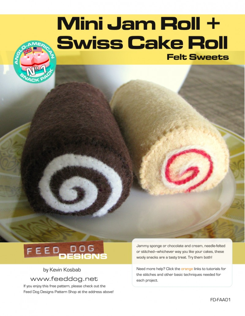 Roll Cake Design Template : Felt Sweets Pattern: Mini Jam Roll + Swiss Cake Roll ...
