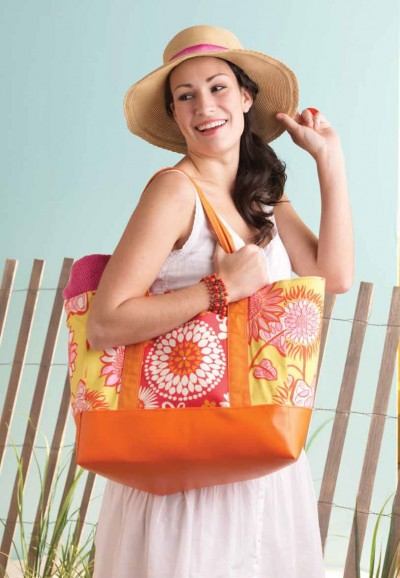 Vinyl-Bottom Beach Tote